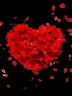 A black background with a red heart and petals floating past to celebrate Valentine's Day or love in general. Beautiful Heart Images, Love Heart Images, Beautiful Gif, Love Heart Gif, Red Love Heart, Love Wallpaper Download, Love Wallpaper Backgrounds, Heart Wallpaper, Love Background Images