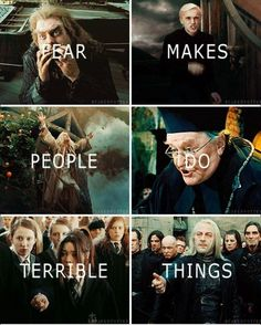 The theme of cowardice and bravery is a huge part of Harry Potter. Here is just a sample of the variety of characters affected by fear. Harry Potter Puns, Harry Potter Artwork, Harry Potter Feels, Harry Potter Draco Malfoy, Harry Potter Pictures, Harry Potter Cast, Harry Potter Universal, Harry Potter World, Harry Potter Characters