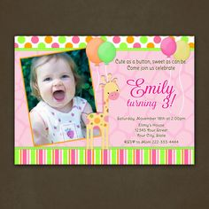 Giraffe Birthday Invitations Printable File by PinkSkyPrintables, $12.00
