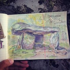 let's sketch! #saintnectaire day 2 is started!! #routedesvillesdeaux #dolmen #sketchbook #carnetdevoyage