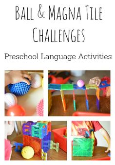 Language activities for preschoolers can be fun and playful with this ball and Magna Tile play challenge experience. Make a box to hold the ball and make a bridge for a ball to travel over. Creative Activities For Kids, Creative Curriculum, Indoor Activities For Kids, Science For Kids, Infant Activities, Creative Kids, Preschool Literacy, Literacy Activities, Shape Activities