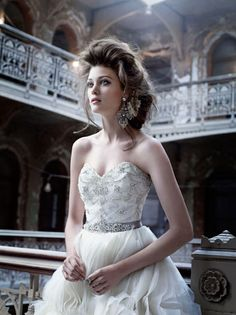 Lazaro Bridal Gowns, Wedding Dresses: Style LZ3153    Ivory organza spiral wave bridal ball gown, sweetheart neckline, alencon lace bodice with embroidered overlay, platinum silk satin ribbon at natural waist, A-Line organza wave skirt, chapel train.