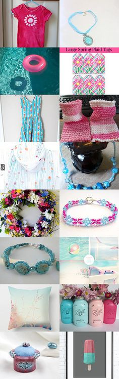 Summer Dreaming ~ Turquoise and pink Gifts by Kathy Carroll on Etsy--Pinned with TreasuryPin.com Help me promote these artists by  Clicking the link to give them views! Thanks!