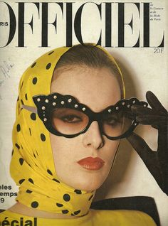 Model wearing Thierry Mugler channeling the on the cover of L'Officiel, February spotted scarf Mannequin Ines de la Fressange photo Michel Picard