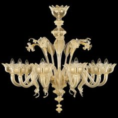 #V-Classic 800 by #MULTIFORME: #artistic #glass #venetian #chandelier, 10 lights, gold color.