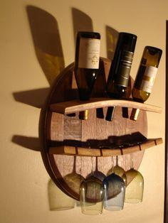 Modern wine cellar design ideas to impress your guests 42 Whiskey Barrel Furniture, Wine Barrel Furniture, Wood Wine Racks, Wine Rack Wall, Wood Wine Holder, Wine Barrel Wall, Wine Bottle Glass Holder, Glass Bottle, Wine Barrel Crafts
