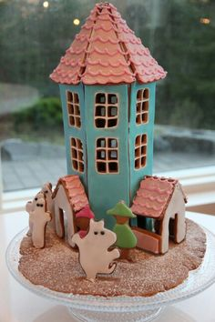 Gingerbread Moomin House Moomin House, Fondant, Gingerbread, Gift Wrapping, Cookies, Bird, Baking, Toys, Birthday