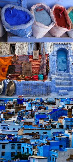 Painted in shades of periwinkle blue is the city of Chefchaouen #Morocco
