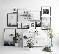 Bilderwand in schwarz/weiß