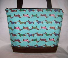 Stylish Turquoise Dachshunds With Sweaters  by OscarsCreations, $60.00