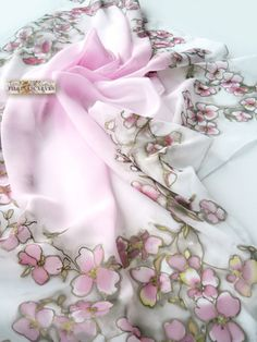 Hand Painted Scarf,square scarf,light pink scarf,blossomed tree,bandana,gift women,fashion scarf,Birthday gift,Chiffon Scarf,art scarf  This scarf