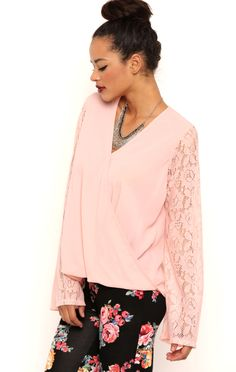 Deb Shops Long Lace Bell Sleeves Surplice Front Top $11.25