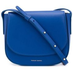 Mansur Gavriel Blue Mini 'Calf Crossbody' Bag ($525) ❤ liked on Polyvore featuring bags, handbags, shoulder bags, blue, mansur gavriel crossbody, blue cross body purse, blue crossbody handbag, mini handbags and mini purse