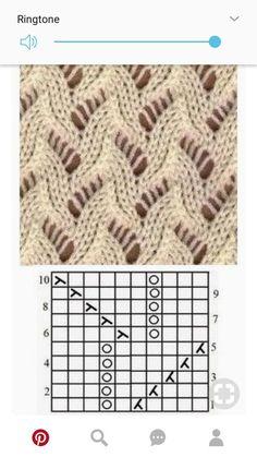 free lace knitting stitch pattern, chart only, no key Lace Knitting Stitches, Knitting Blogs, Crochet Stitches Patterns, Knitting Charts, Lace Patterns, Easy Knitting, Loom Knitting, Knitting Patterns Free, Stitch Patterns