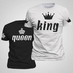 King & Queen Couple Matching Shirts With Sleeve Print Unisex (55 AUD) ❤ liked on Polyvore featuring tops, grey, tanks, women's clothing, pattern tops, print top, sleeve shirt, print shirts and sleeve top