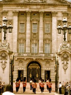 Buckingham Palace in London. You have to see the changing of the guards. Get off the street! The horses are coming!