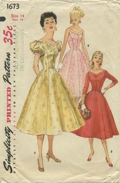 Vintage Sewing Pattern | Simplicity 1673 | Year 1956 | Bust 34 | Waist 26 | Hip 36
