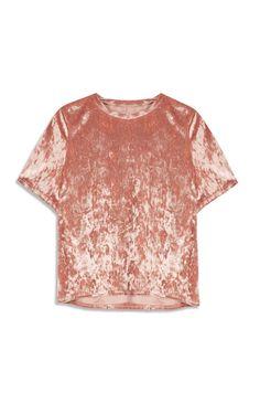 Primark - Roze T-shirt fluweelstructuur 8 euries
