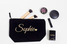 Your place to buy and sell all things handmade Personalized Makeup Bags, Personalized Wedding Gifts, Handmade Wedding, Bridesmaid Makeup Bag, Bridesmaid Gifts, Makeup Bags Uk, Versace, Gold Wedding, Wedding Bags