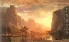 Valley of the Yosemite, Albert Bierstadt, The Hudson River School was a century American art movement influenced by romanticism, focusing primarily on landscape paintings of the United States. Carl Blechen, Landscape Art, Landscape Paintings, Landscapes, Albert Bierstadt Paintings, Framed Art Prints, Fine Art Prints, Framed Canvas, Canvas Art
