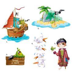 Choisissez ce kit de stickers pirateset imaginez l'aventure de Barbe…