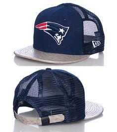 NEW ERA New England Patriots football strapback cap Adjustable strap on back Embroidered team logo on front NEW ERA stitching on sides