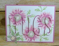 """I CASEd this card from my upline Terri Meehan after seeing it in her studio with the word """"HOPE"""". I just love how """"Painted Harvest"""" looks in these soft colors. I used Blushing Bride, Sweet Sugarplum, Sahara Sand, and Wild Wasabi. This card shows off the Eclipse technique. In this technique, a layer of a project is cut with letters or shapes. Those letters or shapes are then mounted on foam strips above the openings created by the cut. In my project, the 4"""" x 5 1&#..."""