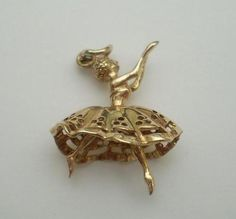 Vintage Gold Ballet Dancer Charm, Moving Legs