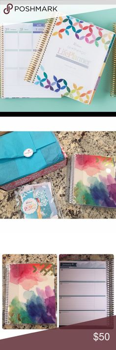 """2017 Erin Condren Life Planner 2017 Erin Condren Life Planner. Brand new!! Comes with original packaging, snap in book mark, """"Plan For It Pouch,"""" stickers, and postcards! Cover is interchangeable too, so if you want to switch it out for a different or custom cover, you can! Erin Condren Accessories"""