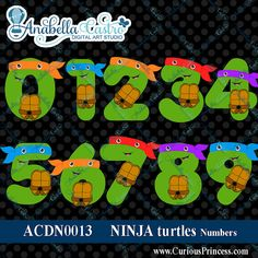 Ninja Turtles Clipart Numbers alphabet by ACDigitalArtStudio, $3.99 tmnt cute clip art birthday party ideas printables iron on on etsy www.Yoltzin.com