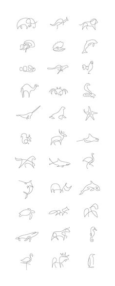 Set of animal logos / icons made in one line. #Piercings