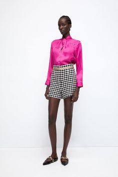 TIED SATIN BLOUSE - Dark fuchsia | ZARA United States Zara, Couleur Fuchsia, High Collar, High Waisted Shorts, Houndstooth, Shirt Blouses, Mini Skirts, Fashion Outfits, Tie