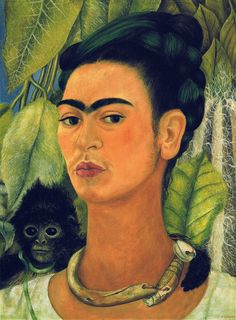 Frida Kahlo - Self-Portrait with Monkey, 1938 -  Albright-Knox Art Gallery, Buffalo, New York  Self Portrait with a Monkey (1938)  In Mexican mythology, the monkey is the patron of the dance, but also a symbol of lust. Here, however, the artist portrays the animal as a living, tender and soulful being with its arm placed protectively around her neck. In this self-portrait and repeated in others to come, Frida uses a claustrophobic background of a tight curtain of leaves which pushes the…