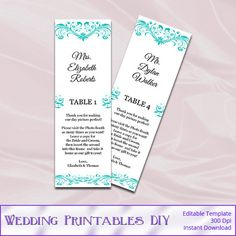 Tiffany Blue Wedding Photo Booth Place by WeddingPrintablesDiy
