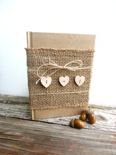 Burlap Guest Book with Hearts $29.99  www.ThePaperWalrus.etsy.com