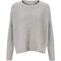 Kin by John Lewis Tuck Stitch Jumper (170 HKD) ❤ liked on Polyvore featuring tops, sweaters, jumpers, long sleeves, light grey marl, relaxed fit tops, jumpers sweaters, long sleeve tops, slouchy tops and long sleeve slouchy top