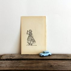 1927 Danish Girl Illustration Book Page to Frame