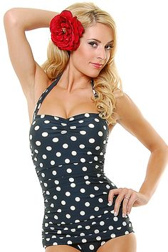 Vintage Inspired Swimsuit 50's Style Pin Up Black Polka Dot Bathing Suit $75.00