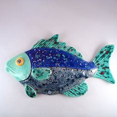 Whimsical Ceramic Fish Decorative wall hanging