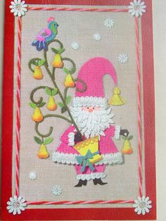 cute vintage Christmas card - love the embroidery illustration style
