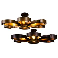 Industrial Semi Flush Ceiling Light in Petal Shape Shade, 6 Lights Rust/ Copper Chandelier Pendant Lights, Ceiling Pendant, Modern Chandelier, Ceiling Lamp, Pendant Lamp, Semi Flush Ceiling Lights, Retro Lamp, Industrial Pendant Lights, Living Room Lighting