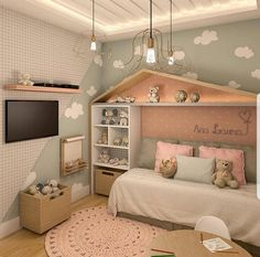 8 Children's Bedroom Design Ideas With Cute Interiors Kids Bedroom Designs, Room Design Bedroom, Baby Bedroom, Baby Room Decor, Girls Bedroom, Bedroom Ideas, Dream Rooms, Dream Bedroom, Little Girl Rooms
