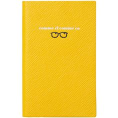 Smythson Varham Panama Comme Ci Comme Ca Journal ($80) ❤ liked on Polyvore featuring home, home decor, stationery, books, fillers, items, other and yellow