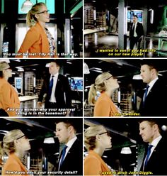 How'd you ditch your security detail? - Felicity and Oliver Arrow Season 4, Oliver And Felicity, Felicity Smoak, Supergirl 2015, Supergirl And Flash, Arrow Memes, Dinah Laurel Lance, Stephen Amell Arrow