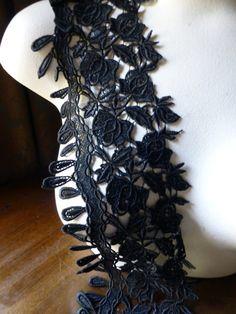 Venice Lace in Black for Applique, Corsets, Costume or Jewelry Design L 3009small
