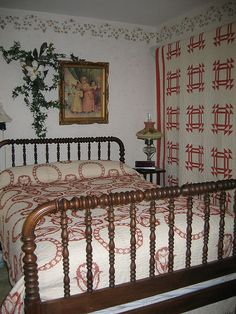 Lovely quilts and bed!