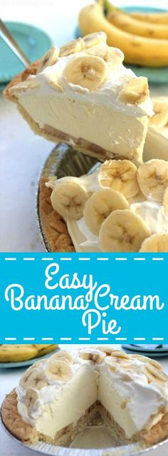 Easy Banana Cream Pie – quick and easy dessert with just a couple ingredients. S… Easy Banana Cream Pie – quick and easy dessert with just a couple ingredients. S…,food Easy Banana Cream Pie. Low Carb Dessert, Pie Dessert, Creme Dessert, Dessert Salads, Breakfast Dessert, Banana Cream Pies, Banana Bars, Easy Banana Cream Pie Recipe With Pudding, Easy Banana Pudding