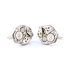 Steampunk Cufflinks Silver now featured on Fab.