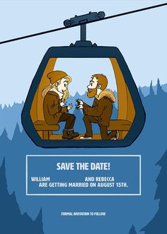 He proposed on a ski lift. This was their save the date Ski Wedding, Ski Lift, Ski And Snowboard, Lily Of The Valley, Youre Invited, Happily Ever After, Save The Date, Getting Married, Skiing