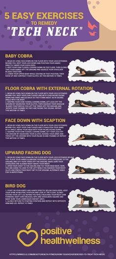 """5 Easy Exercises To Remedy """"Tech Neck"""" . 5 Easy Exercises To Remedy """"Tech Neck"""" – Positive Health Wellness Infographic Tight Neck, Neck Exercises, Stretches, Workout Posters, Good Mental Health, Neck Pain, Easy Workouts, Body Weight, Health And Wellness"""